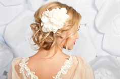 Pretty Curled & Pinned Updo with Elvira Flower on Side, Medium/Long Hair.