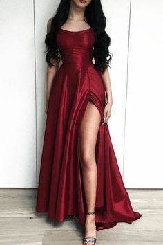 Long Satin Leg Split Open Back Prom Dresses Burgundy Prom Dresses,Burgundy Evening Gowns,Long Prom Dress,Sexy Prom Dress Open Back Prom Dresses, Cute Prom Dresses, Prom Outfits, Backless Prom Dresses, Grad Dresses, Homecoming Dresses, Formal Dresses, Sexy Dresses, Party Dresses