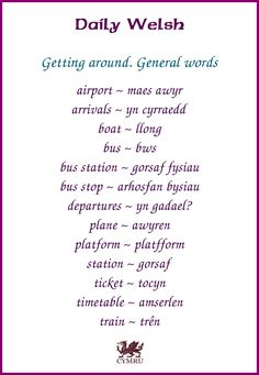 Daily Welsh: Getting around - general words
