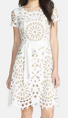 Laser cut fit & flare dress http://rstyle.me/n/jzgw9nyg6