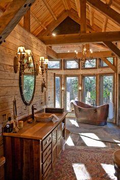 Log Home Interiors, Rustic Interiors, Log Home Kitchens, Heart Pine Flooring, Modern Rustic Decor, Rustic Design, Wood Siding, Rustic Bathrooms, Reclaimed Barn Wood