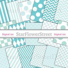 Aqua Blue Digital Paper Large Pattern - instant download big soft turquoise quatrefoil scallop dot chevron striped cloverleaf photography by StarFlowerStreetDA