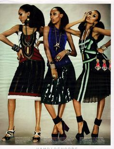 visual optimism; fashion editorials, shows, campaigns & more!: feminine mystique: jourdan dunn, jasmine tookes, anais mali by emma summerton for w march 2012