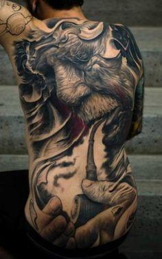 Amazing full back tattoo
