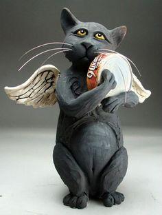 Photo: Custom order cat.   by Grafton Pottery