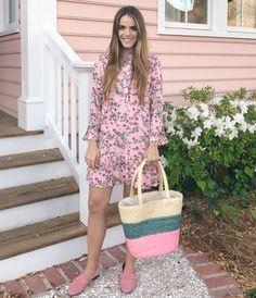 3.17 daily look (LOFT 'gardenia' flounce dress + Mansur Gavriel blush suede loafers + ASOS reclaimed vintage pastel stripe straw bag)