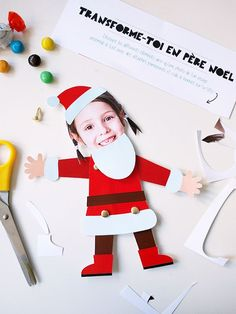 pere noel DIY santa printable for kids Winter Activities For Kids, Christmas Activities, Craft Activities, Handmade Christmas Decorations, Christmas Crafts For Kids, Xmas Crafts, Christmas Swags, Christmas Makes, Christmas Diy
