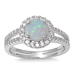 Sterling Silver 1.50 Carat Round White Synthetic Opal Clear Diamond CZ Accent Split Shank Wedding Engagement Anniversary Halo Ring Love Gift