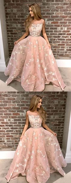 A-Line Round Neck Pink Tulle Prom Dress with Appliques Lace, princess pink long prom dresses, modest party dresses with appliques #pinkdress #fashiondress #promdresses
