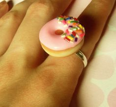 pink strawberry glazed doughnut ring with by ScrumptiousDoodle from ScrumptiousDoodle on Etsy. Saved to Epic Wishlist. Donuts, Strawberry Glaze, Rainbow Sprinkles, Clay Food, Cute Little Things, Cute Charms, Cute Jewelry, Jewlery, Pink Ring