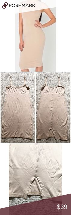 """Nude Beige Tan Basic Slip Bodycon Jersey Dress Brand:American Apparel Size:Large Condition: new without tags Material: 60% rayon, 35% nylon, 5% elastane  Notes: Style # 03-6418-5401 Slit in back (5.5"""") Made in Usa Stretchy Bodycon dress that can be worn alone or as a Basic slip/undergarment   Measurements laying down: Chest: 16"""" (stretches to ~18.5"""") Center length (shoulder to hem): 37.5"""" American Apparel Dresses Mini"""