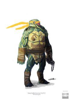 Mikey Concept by Corey-Smith on DeviantArt Ninja Turtles Art, Teenage Mutant Ninja Turtles, Game Character Design, Fantasy Character Design, Comic Books Art, Comic Art, Pathfinder Character, 80 Cartoons, Dnd Art