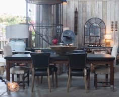 Our custom dining tables and antique seating make for a perfect pair. Eclectic home design, vintage finds and so much more at our San Francisco showroom. Big Daddy's Antiques by Shane Brown. http://www.bdantiques.com/