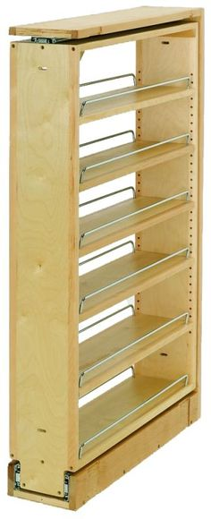 Rev A Shelf Filler Pull-Out Organizer With Wood Adjustable Shelves Diy Wood Projects, Home Projects, Woodworking Plans, Woodworking Projects, Woodworking Classes, Diy Furniture, Furniture Design, Rev A Shelf, Adjustable Shelving