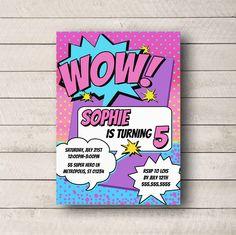 Super Hero Birthday Invitation, GIRL Comic Book Birthday Invite, GIRL Superhero Invitation, Girl Comic birthday Invite, DIGITAL invitation by WhitetailDesigns on Etsy https://www.etsy.com/listing/233225008/super-hero-birthday-invitation-girl