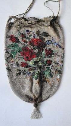 Lovely Antique Glass Beaded Floral Drawstring Purse Reticule on Etsy, $150.00
