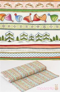 """alternate stripes patterns on cotton fabric of winter such as hats, snow capped trees, rabbits and chevron, dots patterns, Material: 100% cotton, Fabric Width: 112cm (44"""") #Cotton #Chevron #ZigZags #Children #Clothes #Glasses #Hats #Shoes #Christmas #USAFabrics"""
