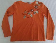 Aurora Womens V-neck Sweater S Orange Fine Knit Wool Blend Embellished Flowers #Aurora #VNeck
