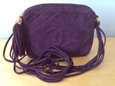 Vintage CHANEL Quilted Purple Suede Camera Bag with Quilted CC, Tassel, Gold Bijoux Hardware, & Dustbag.  http://www.RiceAndBeansVintage.com