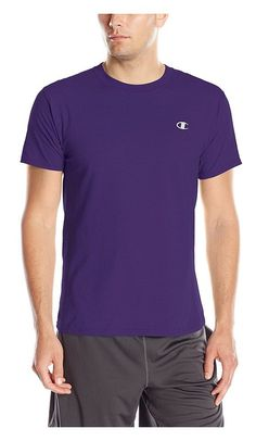 402672c25 $18.1 - Champion Men`s Cotton Jersey T Shirt,T2226,L,Rainforest Heather  Mystic Purple #champion