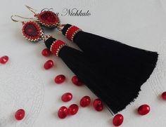 Long Tassel Earrings Beaded Bright Red and Black Luxurious Fringe Dangle…