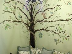 mural for Sophia....incorporating designs and color from fabrics