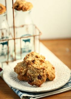 Pin these to your Christmas Cookie Board - Oatmeal, Cranberry White Chocolate Cookies - Low Calorie Low Fat, Whole Wheat Dessert