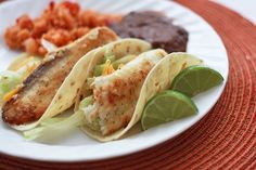 honey lime fish tacos (I added chili powder, garlic, and cumin to the marinade and they were amazing!!)