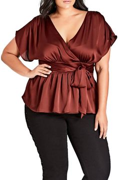Plus Size Women's City Chic Tangled Faux Wrap Top, Size Medium - Red Christmas Fashion, Autumn Fashion, Christmas Outfits, Evening Blouses, Satin Top, City Chic, Plus Size Women, Casual Outfits, Casual Clothes