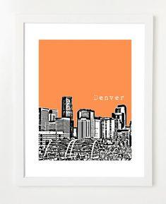 Denver Skyline  Denver City Art  Denver Poster  by BugsyAndSprite, $20.00