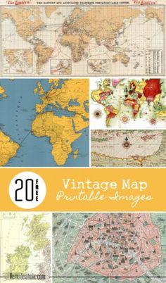 20 Free Vintage Map Printable Images – Scrap Booking