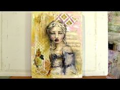 Mixed media artwork featuring a girls portrait. Materials - acrylic paint, vintage papers, water soluble pencil and sennelier oil sticks. http://www.toniburt...