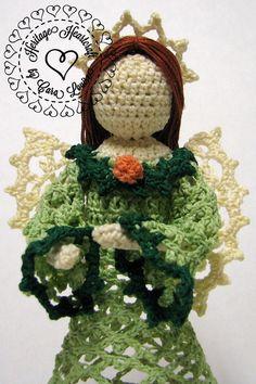 Small Crocheted Angel Figurine by HeritageHeartcraft thread crochet angel