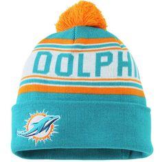Miami Dolphins Youth Cuffed Knit Hat with Pom – Aqua