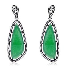 Earring Obsession's Sterling Silver Black Rhodium Plated with Created Emerald and CZ Chandelier Earrings >>> Want additional info? Click on the image.
