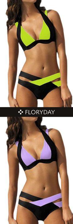 Polyamide Halter Solid Bikinis Swimwear, bikinis, swimwear, sexy, beach time.