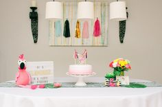 Flamingo Birthday Party - simple, yet playful decor ideas! Flamingo Birthday, Project Nursery, Party Themes, Party Ideas, Holiday Parties, Amelia, Party Planning, Birthday Parties, Simple
