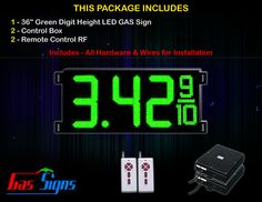 36 Inch Digits - 1 Green Digital GAS PRICE Gasoline LED SIGNS - Complete Package w/ RF Remote Control with housing dimension H1005mm x W2434mm x D100mmand format 8.88 9/10 comes with complete set of Control Box, Power Cable, Signal Cable & 2 RF Remote Controls (Free remote controls).