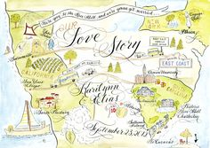 Watercolor Wedding Love Story Map DIY, print at home or order prints