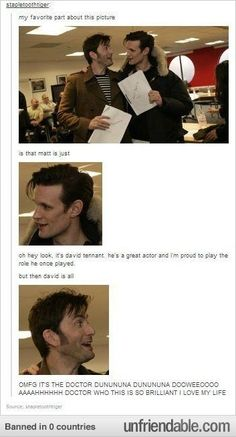 "How much David tennant likes doctor who << How dare you say he ""likes"" Doctor Who. This is the man who got in trouble at school because all of his essays were Doctor Who fanfiction. The Doctor, Serie Doctor, Tenth Doctor, Doctor Who Poster, Matt Smith, David Tennant, Time Lords, Fandoms Unite, Funny Videos"