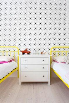 polka dot walls + brights