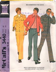 97e12b1ace4 McCalls 3440 1970s Mens Jacket and Pants Pattern Cargo Flat Front Trousers  Weekender Wardrobe Adult Vintage Sewing Pattern Chest 40