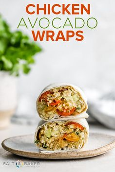 These avocado chicken wraps are a healthy lunch or dinner recipe; plus they take only 10 minutes to make! #saltandbaker #avocado #lunch #dinner #healthy #mealprep #dinnermenu Healthy Recipes For Weight Loss, Real Food Recipes, Chicken Recipes, Baker Recipes, Lunch Recipes, Chicken Avocado Wrap, Chicken Wraps, Healthy Cooking, Healthy Eating