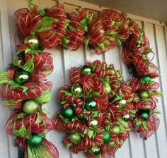 Deco Mesh Garland And Matching Christmas Deco Mesh Wreath!!! https://www.facebook.com/#!/WreathsByJackieDevlin