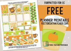 Free Printable Pumpkin Spice Planner Stickers from Victoria Thatcher