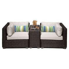 TK Classics Venice Wicker 3 Piece Patio Conversation Set with Cup Table and 2 Sets of Cushion Covers Beige / Wheat - VENICE-03B-BEIGE