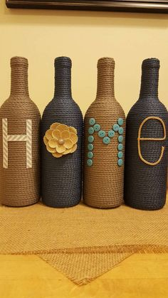 Beautiful Models To Inspire You Diy Crafts Hacks, Diy Home Crafts, Diy Arts And Crafts, Jar Crafts, Creative Crafts, Decor Crafts, Glass Bottle Crafts, Wine Bottle Art, Painted Wine Bottles