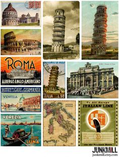 TRAVEL ITALY - Digital Printable Collage Sheet - Instant Download