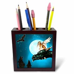 3dRose ph_25967_1 Fairy Dragon Fantasy with Moon and Owls Tile Pen Holder 5Inch ** You can get more details by clicking on the image.