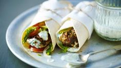 These wraps are the perfect grab-and-go meal. You can also use seasoned yoghurt and some fresh chopped coriander and mint instead of the chutney.